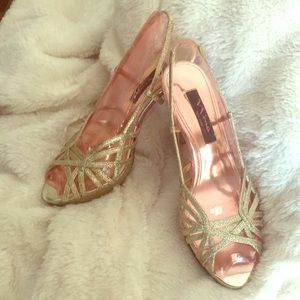 EUC Nina Gold Glitter Heels
